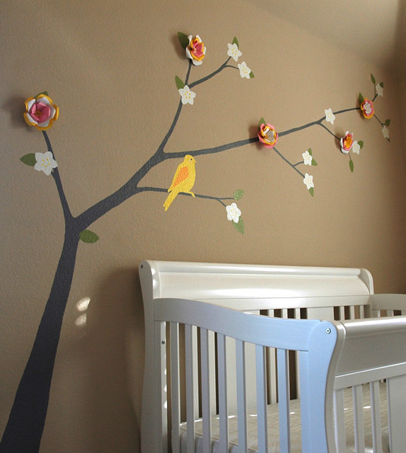 Nursery tree branch mural nursery mural done for a baby for Baby room tree mural