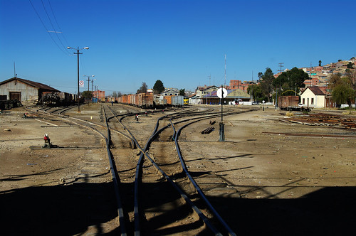 railroad blue sky car station train track view railway bolivia overlook oruro wagoon