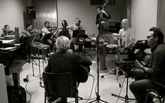 Lori Lieberman rehearsing at MuzyQ in Amsterdam for her tour with the Matangi Quartet, Hein Offermans, Jerone de Rijke, Eugene Ruffolo