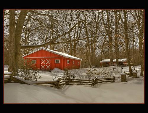 winter red snow ontario canada sepia barn nikon orangeville hdr d700 nikkor2470mmf28