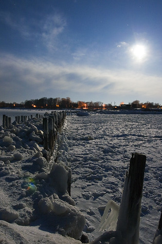 longexposure sea moon cold night landscape stones freezing latvia moonlight breakwater engure