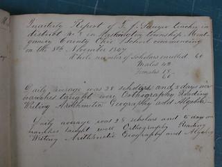 District 8 School Records, Washington Township, Montgomery County, Ohio, 1847-1854