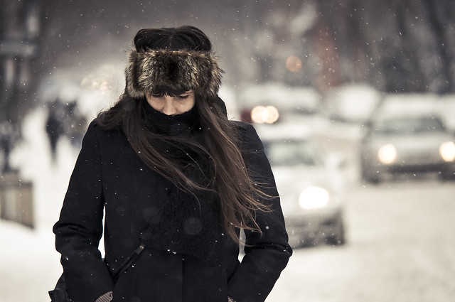 the hair, the wind, the bokeh and the snowflakes (explored)