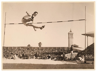 High jumper Metcalfe, Empire Games in Sydney for Sesquicentenary, 1938, by Sam Hood