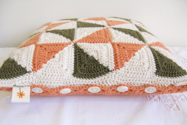 Mildred, pinwheel patchwork crochet cushion by Emma Lamb
