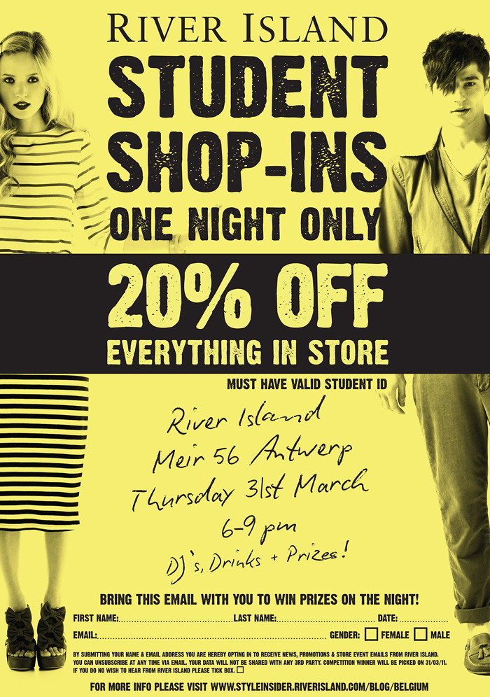 river island student party flyer