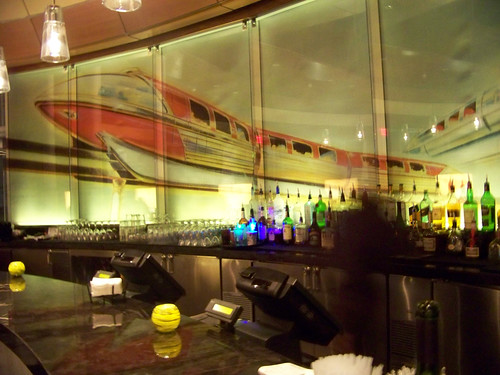 Monorail Mural behind the bar