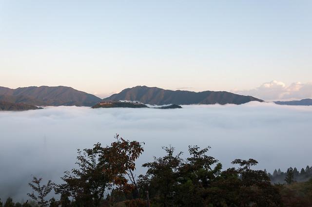 立雲峡から見た竹田城跡と雲海