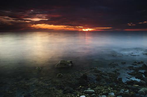 sunset seascape beach landscape rocks dusk philippines reef corals mindanao zamboanga zamboangacity
