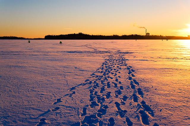 Siguiendo los pasos por el mar helado