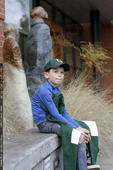 outside the library, waiting for his mom