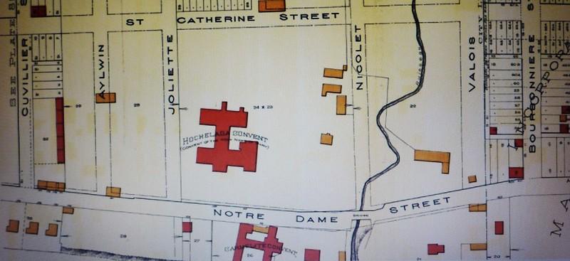 Montréal 1890. Couvent Hochelaga, rue Notre-Dame Est.