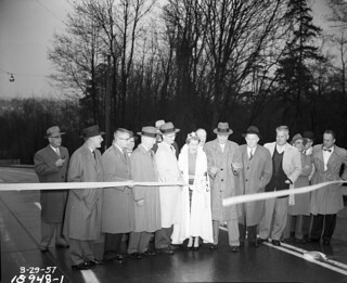 Ribbon cutting for 45th Street Viaduct widening, 1957