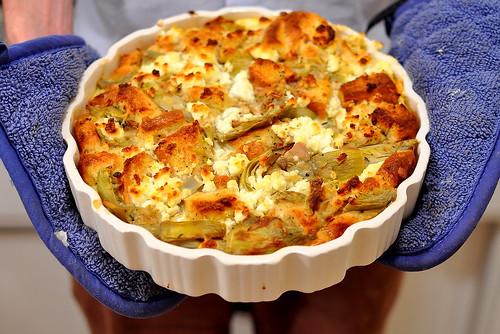 artichoke and goat cheese strata gastronomy