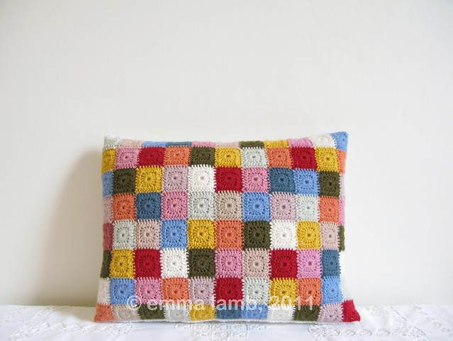 Miss Selma, tiny squares patchwork crochet cushion by Emma Lamb