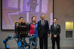 President Obama Poses for a Photo with SCHAFT Robot Designers