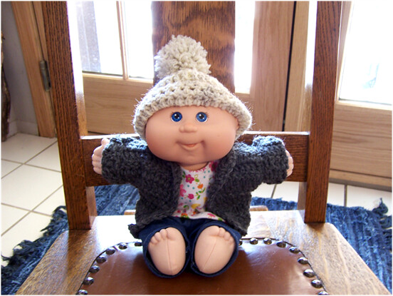 Crochet Pattern For Cabbage Patch Baby Hat : Crochet hat and sweater for Cabbage Patch Surprise Newborn ...