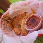 Chorizo wontons and chipotle salsa