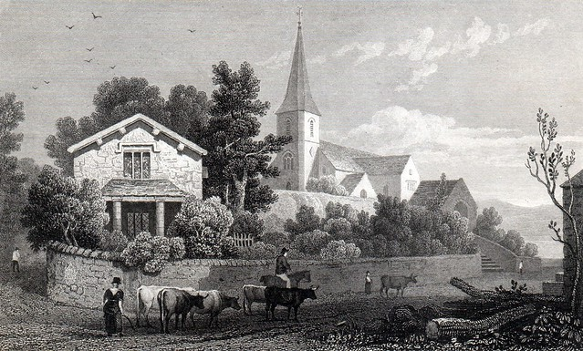 Steel Engraving of Llanfachreth Church c.1830