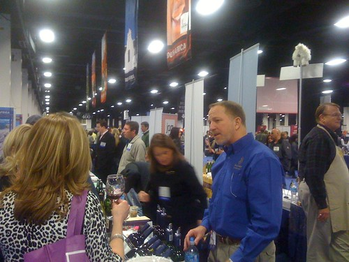 Andrew Hilliard (Beau Joubert) in foreground, next to Patricia Allen (Cape Legends) at Boston Wine Expo