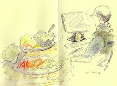 Friend and supper, Hertfordshire, uk by Rosemary Bradshaw. (drawingaline)