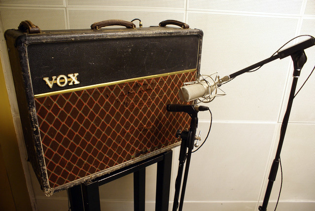 Photo:Jérôme's Vox amp with ShinyBox and Shure SM57 By Marc Wathieu