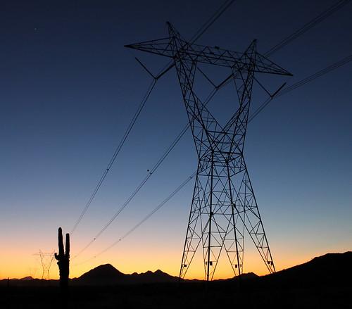 sunset arizona cactus tower powerlines