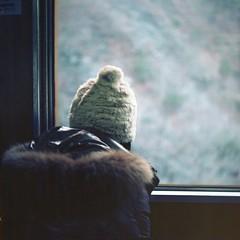 winter scenery from train