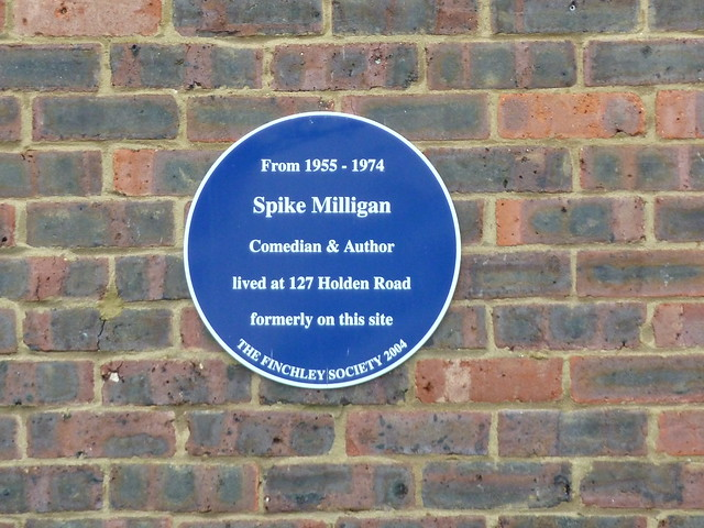 Spike Milligan blue plaque - From 1955-1974 Spike Milligan, comedian & author, lived at 127 Holden Road formerly on this site