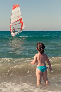 Image de Ammoudi beach Plage d'une longueur de 734 mètres. sea beach kid child wave greece crete mediterranian kriti amoudara windserfing ammoudara