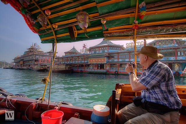 View of the Jumbo Kingdom floating restaurants from sightseeing sampan