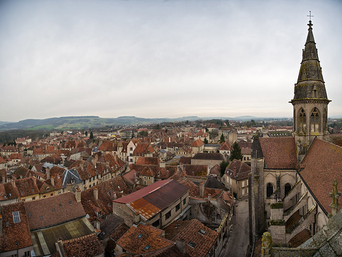 life old houses panorama france church square countryside town high ancient view rooftops burgundy centre wideangle medieval notredame hills shops cote burgundian dor eglise distant dwellings semurenauxois