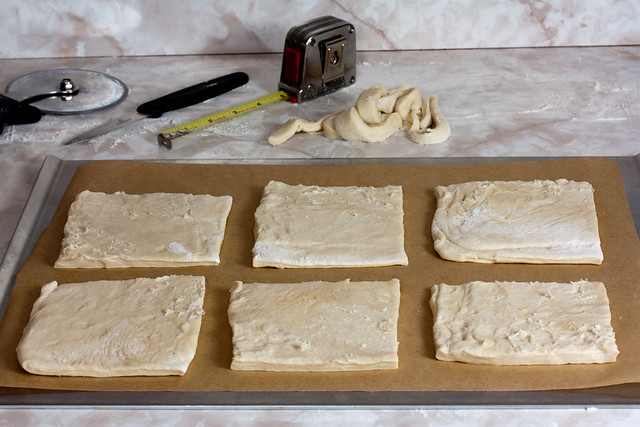 Place 6 squares on each baking sheet