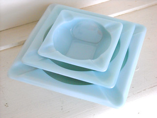 "Fireking* ""Turquoise blue"" Ashtrays"