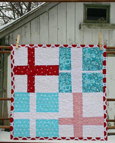 red + aqua mini quilt front