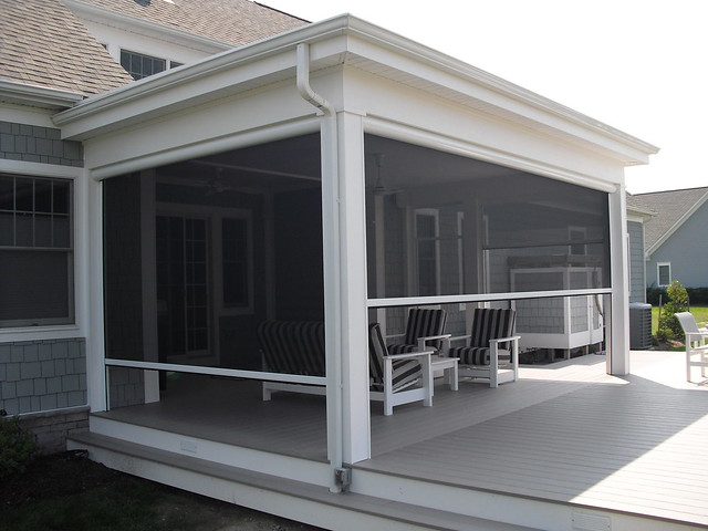 Remote controlled screen porch by screenmobile flickr for Retractable deck screens