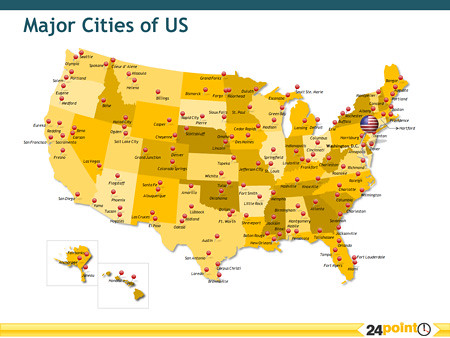Map Of The United States With Major Cities Vector Map Of United
