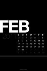 February Lock Screen Calendar Wallpaper Black [iOS 4 Retina Display]