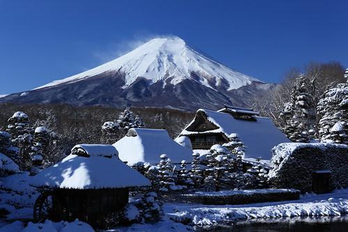 mountain snow fuji oshinohakkai shibokusa