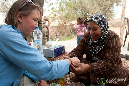 Receiving an Olive Seed Bracelet - Zikra Initiative at Ghor al Mazra'a in Jordan