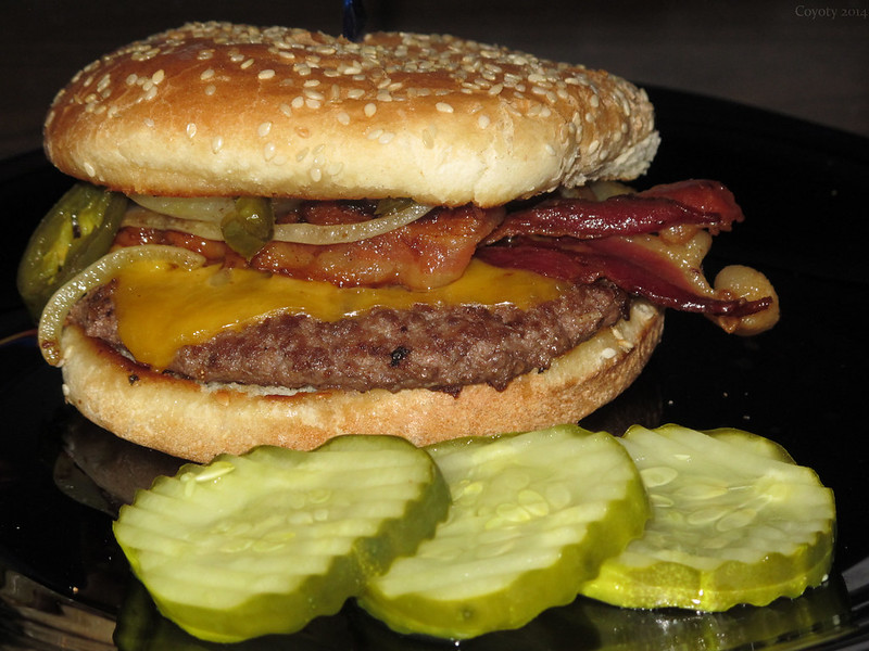 Jalapeño onion bacon cheddar burger.  With pickles.