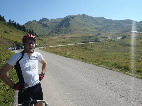 Chris enjoying the view at the Col de Joux Plan
