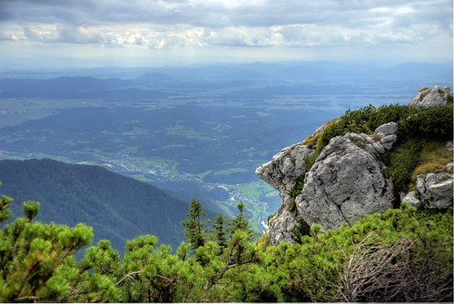 panorama cliff stone nose jump view cloudy head hills slovenia vista slovenija couds stonehead velikaplanina ljubljanskakotlina