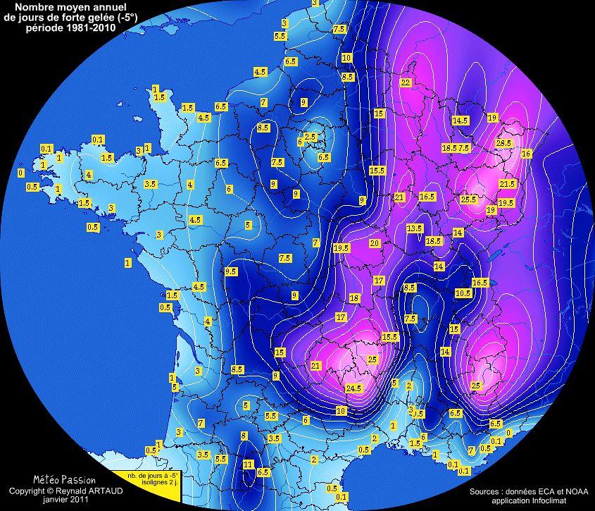nombre moyen annuel de forte gelée (-5°) en France pour la période 1981-2010