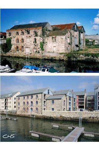 Warehouses at Penryn - top 1997, bottom 2008 by Stocker Images