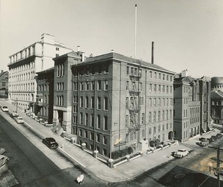 A photo of Lane Medical Library in San Francisco, a large five-story, corner building