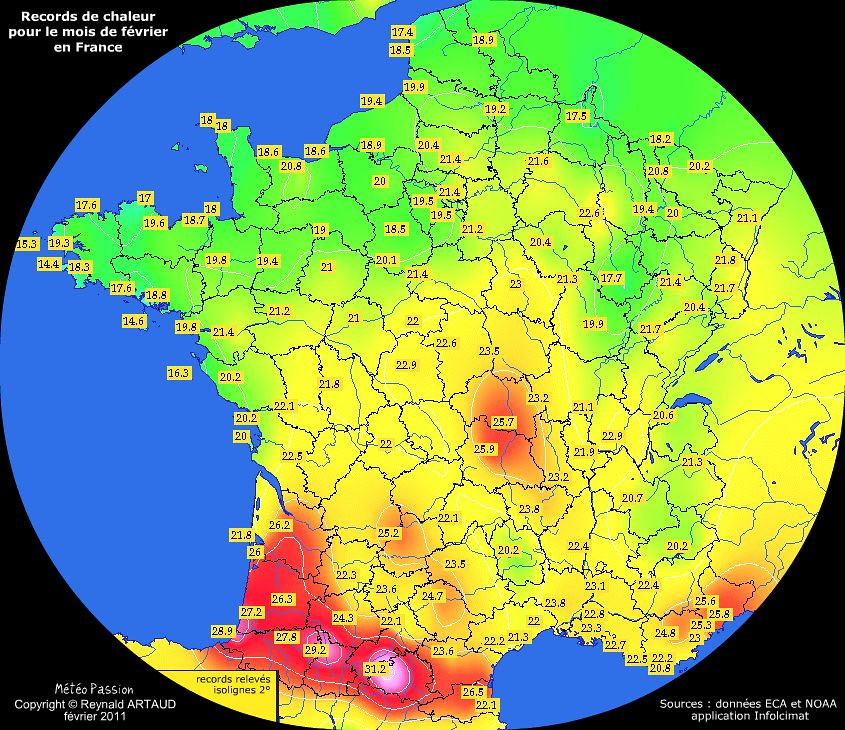 records de chaleur des températures maximales pour le mois de février en France Reynald ARTAUD météopassion