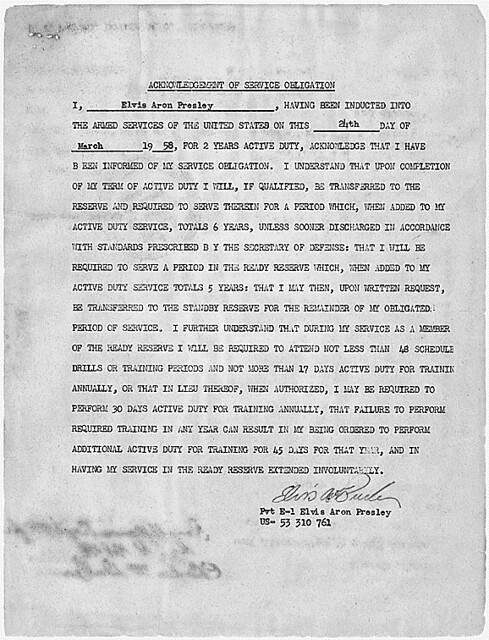 Acknowledgement of service obligation signed by Elvis Presley on March 24, 1958, to indicate that he understands that his total service obligation (both active and reserve) is 6 years., 03/24/1958 - 03/24/1958