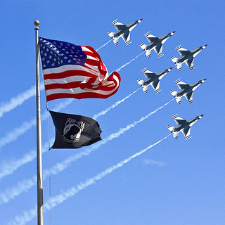 POW / MIA Flag with Old Glory & The Thunderbirds
