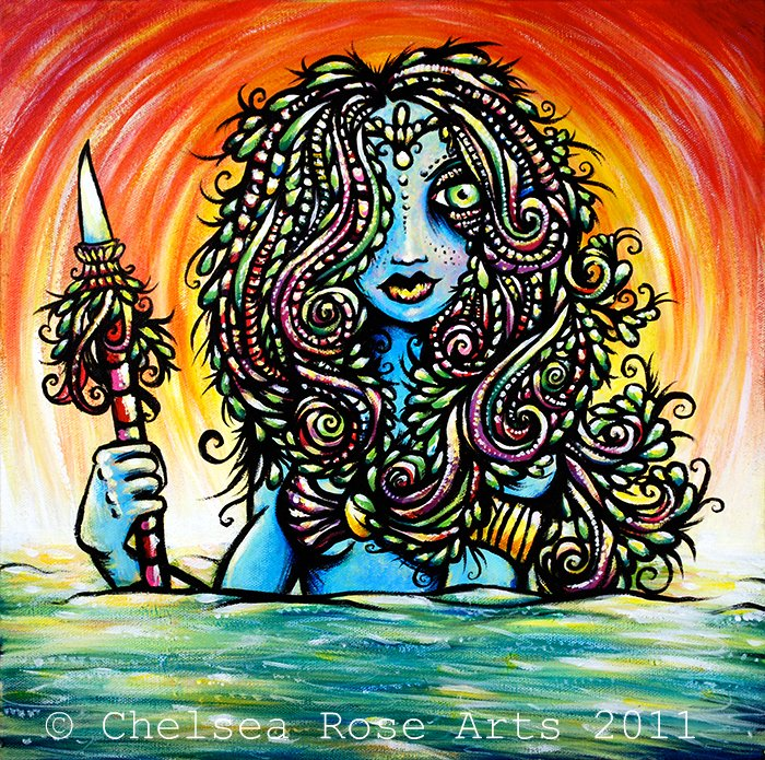 Goddess of the Hunt-original acrylic painting